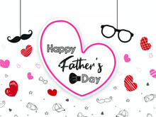 Happy Father's Day Concept. Template For Greeting Card, Flyer, Banner, Invitation, Congratulation, Poster Design With Frame, Glasses, Mustache,bow Tie On Bright, Watercolor Background. Vector