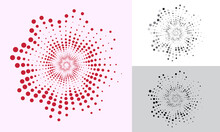 Abstract Spiral With Halftone Dots. Red Dotted Flower Pattern.