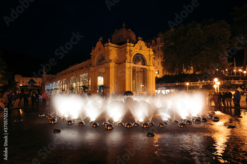 At night Famous Singing Fountain - Attribute of the small spa town Marianske Lazne (Marienbad) Canvas Print