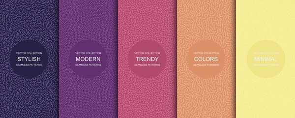 Collection of trendy seamless bright vector patterns - creative textile design