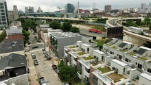 Upscale Condos And Apartment Housing In Philadelphia PA, USA, Urban Residences In Metro Area, Aerial Drone View