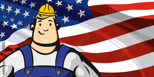 Builder on the background of the American flag #370580226