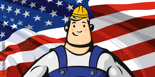 Builder on the background of the American flag #370580272