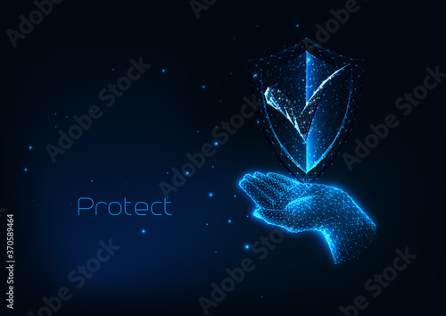 Canvastavla Futuristic protection cyber security concept with glow low polygonal hand holdin