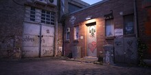 Neon Evening In A Cyberpunk City Of A Future. Abandoned Warehouse. Photorealistic 3d Illustration Of The Futuristic City. Empty Street With Neon Lights.