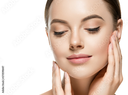 Fotomural Woman beauty hand touching face clean natural healthy skin