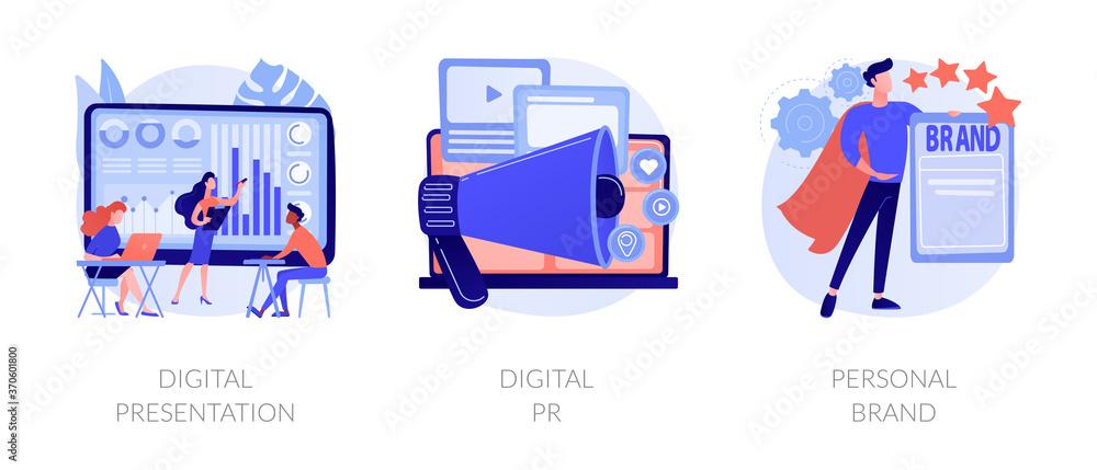 Fototapeta Project development, online advertisement, branding, successful startup. Digital presentation, digital PR, personal brand metaphors. Vector isolated concept metaphor illustrations.