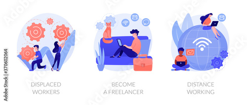 Fotografiet Unemployment and remote job opportunities abstract concept vector illustration set