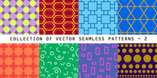 Colorful Vector Collection Seamless Patterns. Bright Stylish Textures. You Can Find Repeatable Backgrounds In Swatches Panel.
