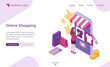 Online shopping isometric landing page, customer purchasing in digital store. Woman choose goods at huge smartphone with internet market platform. Buyer use cyber shop mobile app. 3d vector web banner