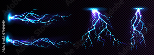 Obraz Electric lightning strike, impact place, plasma or magical energy flash in blue color isolated on black background. Powerful electrical discharge, Realistic 3d vector illustration - fototapety do salonu