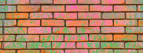 Banner multicolored old brick wall. Fototapete