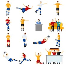 Soccer Game People Flat Icons ...