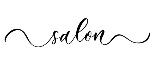 Salon - vector calligraphic inscription with smooth lines.