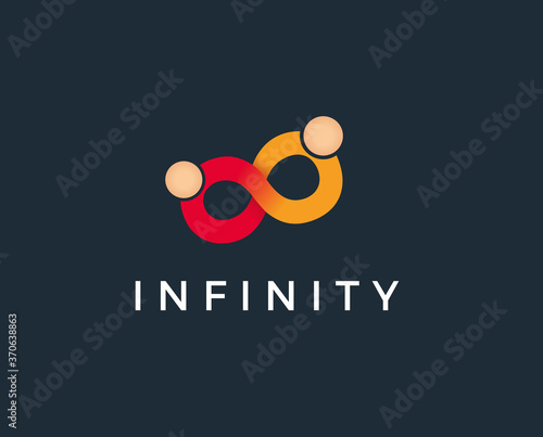 Fototapeta minimal infinity people logo template - vector illustration