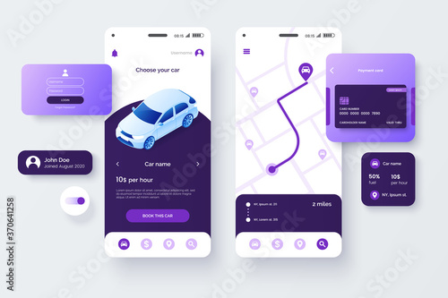 Fotografia Car share service mobile application template