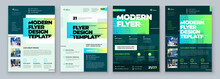 Flyer Design Set. Green Modern...