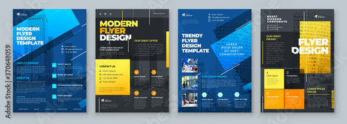 Flyer Design Set. Dark Blue an Yellow Modern Flyer Background Design. Template Layout for Flyer. Concept with Dynamic Line Shapes. Vector Background.
