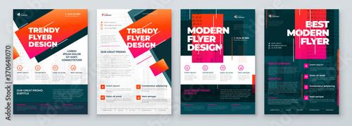 Fototapeta Flyer Design Set. Modern Flyer Background Design. Template Layout for Flyer. Concept with Dynamic Line Shapes. Vector Background. obraz
