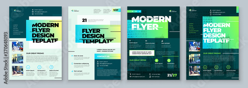 Fototapeta Flyer Design Set. Green Modern Flyer Background Design. Template Layout for Flyer. Concept with Dynamic Line Shapes. Vector Background. obraz