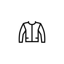 Jacket Icon  In Black Line Style Icon, Style Isolated On White Background