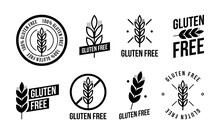 Collection Gluten Free Seals. Various Black And White Designs, Can Be Used As Stamps, Seals, Badges, For Packaging Etc.