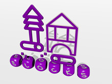 BLOCKS Cubic Letters With 3D Icon On The Top. 3D Illustration. Background And Abstract