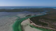 Aerial Footage Of Tropical Island Channels The North Bimini Marine Reserve