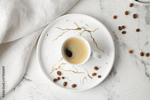 Fotografia Cup of hot coffee on white background