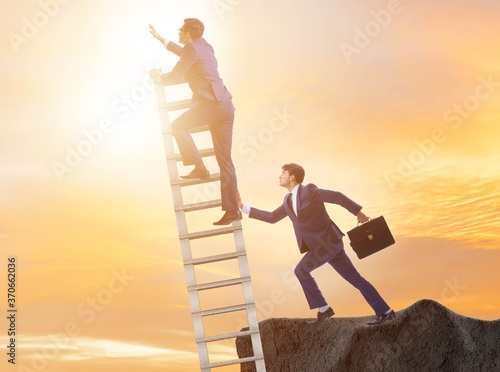 Photo Business unethical competition concept with businessmen