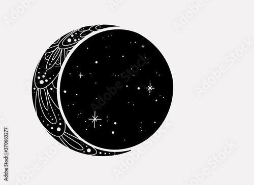 Mandala crescent moon and stars Fotobehang
