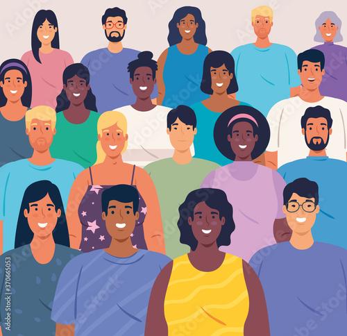 Fototapeta multiethnic big group of people together, diversity and multiculturalism concept vector illustration design obraz