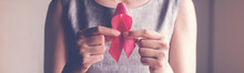 Woman Holding Pink Ribbon, Bre...