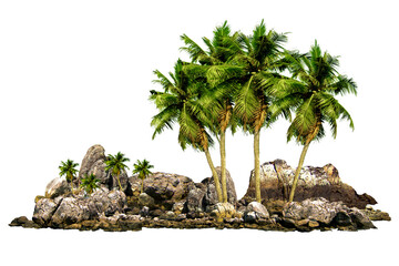 The trees Coconut. Mountain on the island and rocks.Isolated on White background