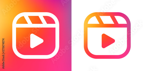 Fotografie, Tablou Instagramm reels icon, line vector illustration, gradient background