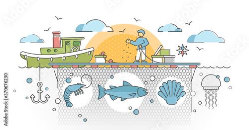 Aquaculture as seafood farming for production cultivation outline concept Fototapet