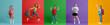 Leinwandbild Motiv Kids with backpacks on colorful background
