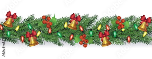 Obraz na plátně Christmas or New Year fir entwined with garlands vector illustration isolated