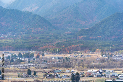 View of local town from hill in Nagano prefecture, JAPAN.