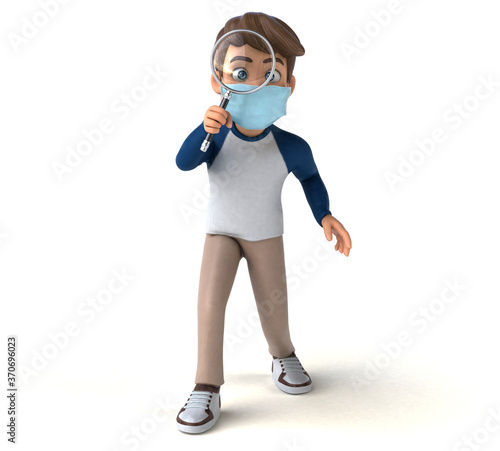 Fun cartoon kid character with a mask