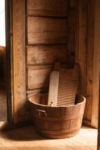 Wooden Washboard And Bowl Made...