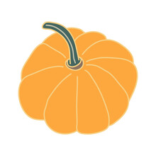 Yellow-orange Pumpkin With A Long Peduncle In Cartoon Flat Style With Lines. Hand Drawn Vector Illustration Isolated On White Background. Farming Garden Theme.