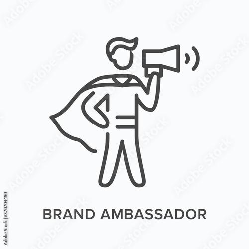Photo Brand ambassador flat line icon