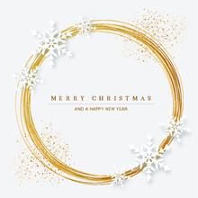 Goldene Weihnachtskarte Mit Kreis Und Schneeflocken