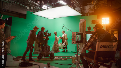 Fotografia, Obraz On Big Film Studio Professional Crew Shooting History Costume Drama Movie