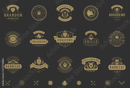 Fototapeta Grill and barbecue logos set vector illustration steak house or restaurant menu
