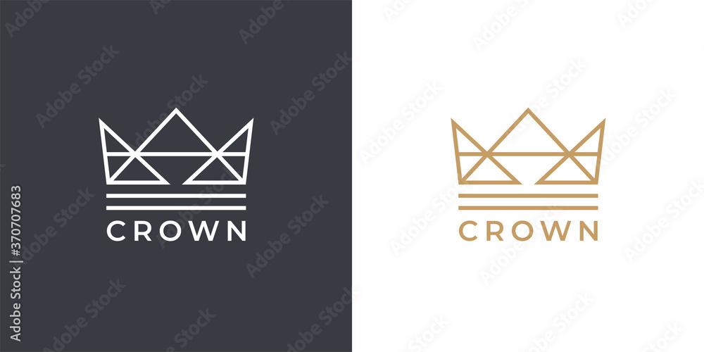 Fototapeta Kings gold crown logo template. Premium royal company brand identity line icon. Luxury linear style corporate business emblem. Vector illustration.