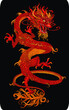 red traditional Chinese dragon symbol on a black background  vector illustration