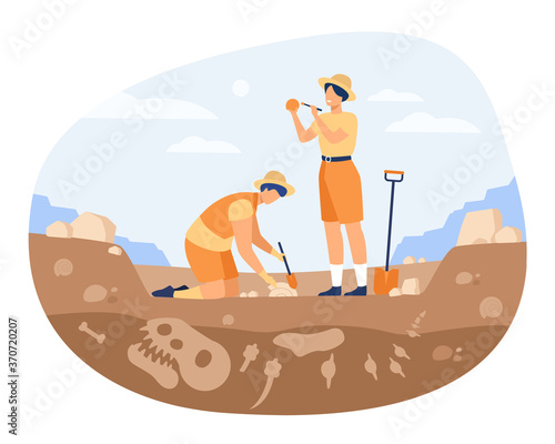 Archaeologist discovering dinosaurs remains Wallpaper Mural