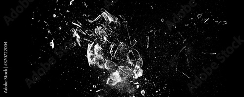 Obraz Broken glass on the black bachground. Isolated realistic cracked glass effect	 - fototapety do salonu